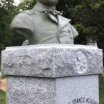 The bronze of General Meagher, atop its granite base.