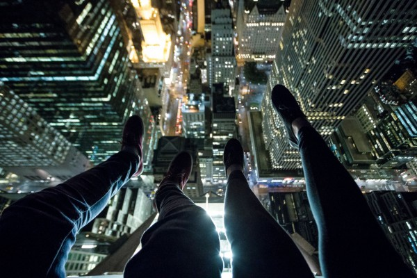 A group photograph--Christopher and his longtime girlfriend, up above Times Square.