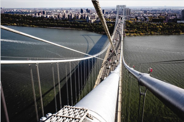 Atop the George Washington Bridge tower. Christopher befriended a police officer who made life easy for him; who knew there is an elevator to the top?
