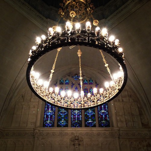 The chandelier in Green-Wood Historic Chapel, photographed by Christopher in 2013.