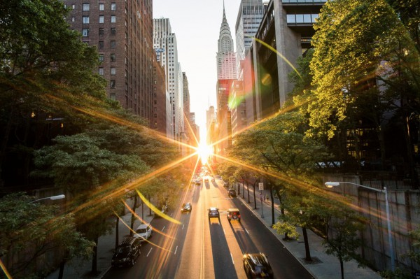 Christopher captured Manhattanhenge, opening his lens up to get these light effects.