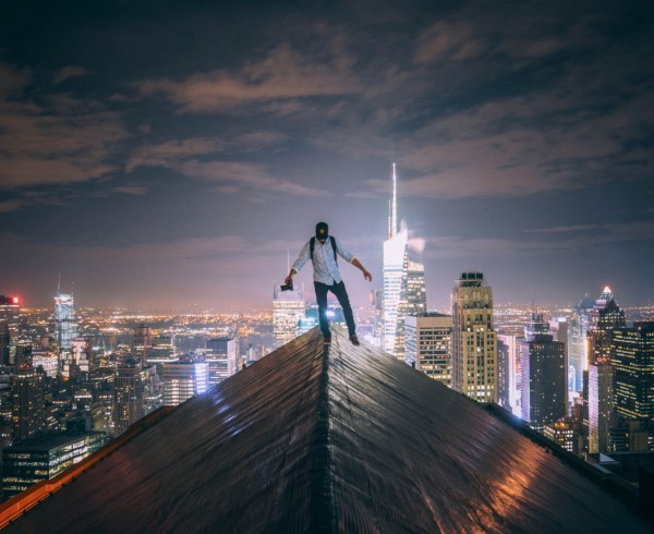 This photograph, by Christopher's friend , shows Christopher atop a Manhattan building.