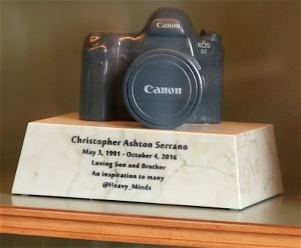 This cast of Christopher's camera contains his cremated ashes.