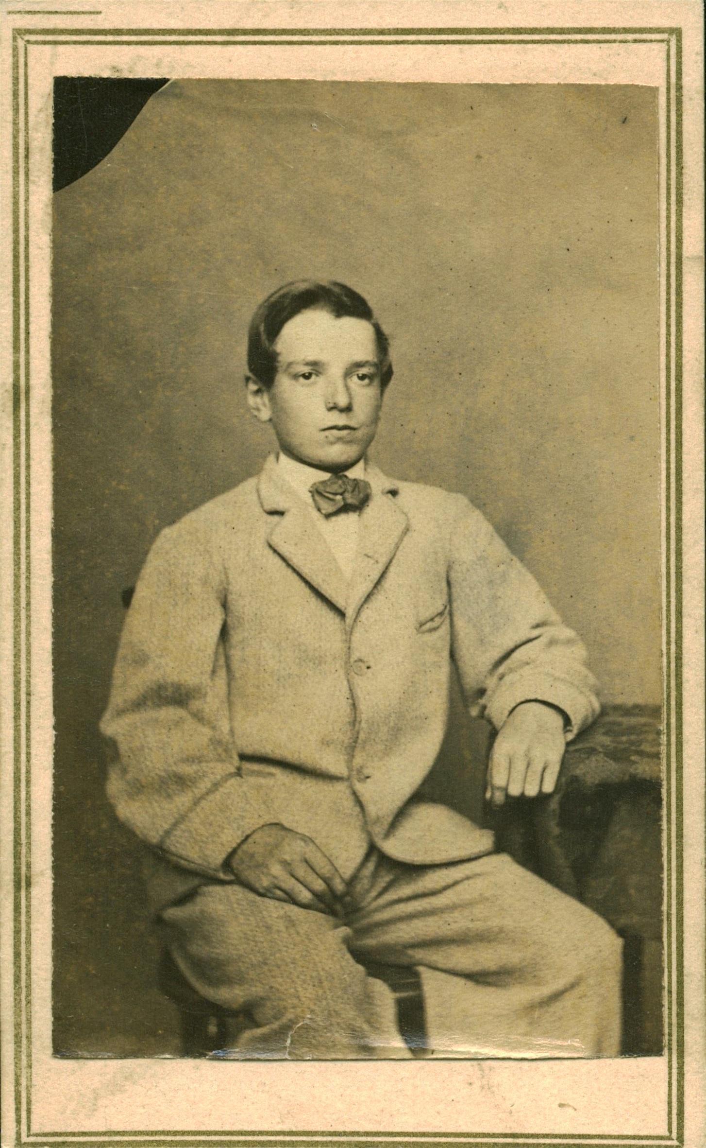 Carte De Visite Photograph Circa 1870 A Young Man Perhaps In His Early Teens