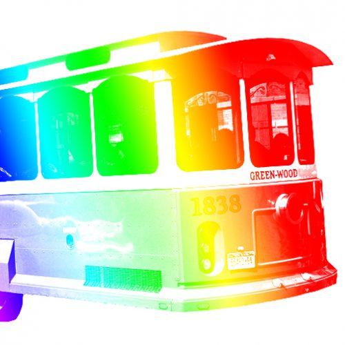 trolley rainbow colors