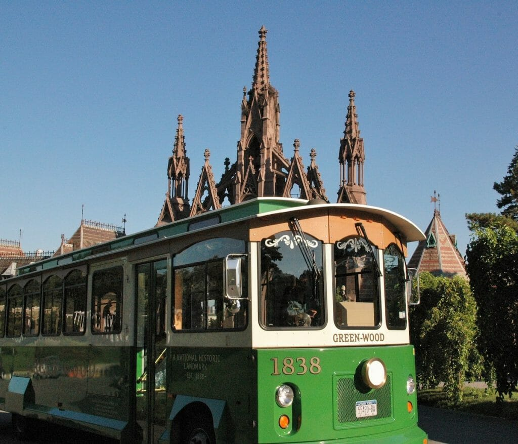 green-wood trolley and front gates photo