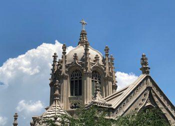 green-wood chapel roofline