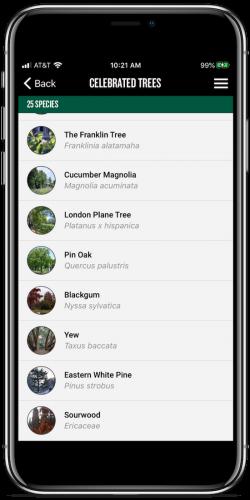 app celebrated trees list screenshot