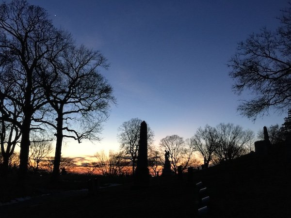 sunset cemetery view