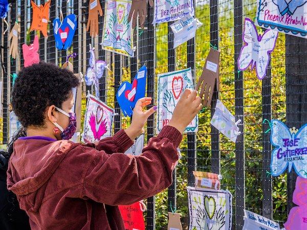 child hangs a memorial